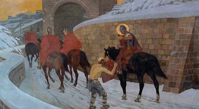 Bild von Sankt Martin von Tours wie er für einen Bettler seinen Mantel abschneidet