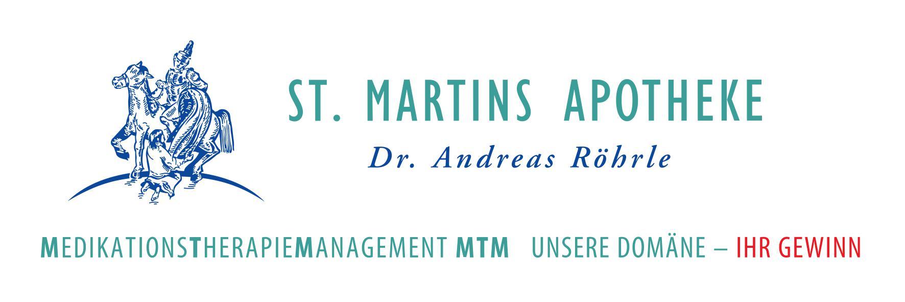 Schriftzug St. Martins Apotheke am Saumarkt in Wangen im Allgäu, Dr. Andreas Röhrle Medikationstherpaiemanagement