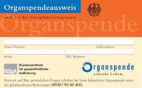 Organspendeausweis Bundeszentrale für gesundheitliche Aufklärung